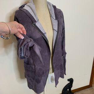 Purple Cotton Sweatshirt Full Zip w/ Hood